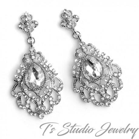 Vintage Style Long Bridal Chandelier Earrings
