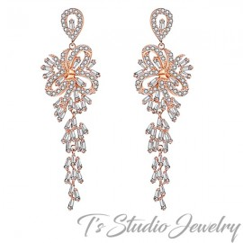 Long Rose Gold Chandelier Bridal Earrings