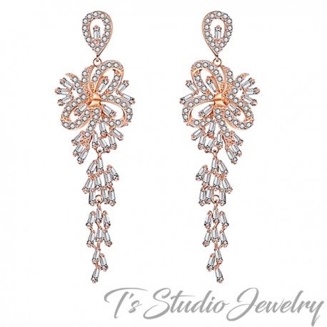 Long Rose Gold Chandelier Bridal Earrings