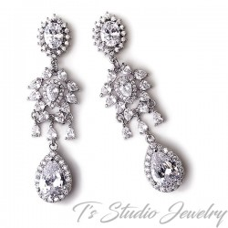 CZ Cubic Zirconia Chandelier Wedding Earrings