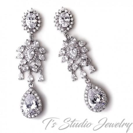 CZ Cubic Zirconia Chandelier Wedding Earrings