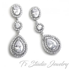 Teardrop Cubic Zirconia Bridal Chandelier Earrings