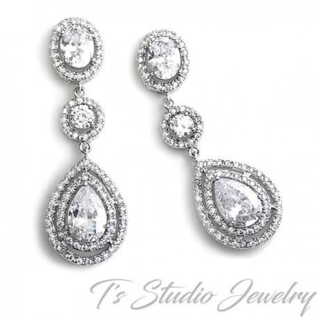 Teardrop Cubic Zirconia Bridal Chandelier Earrings