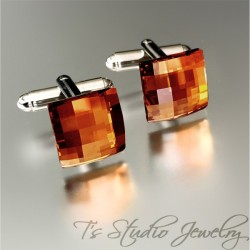 Swarovski Copper Crystal Cufflinks