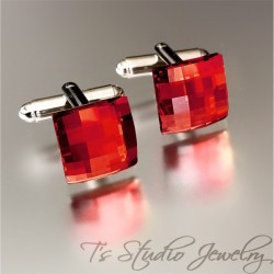 Swarovski Red Crystal Cufflinks
