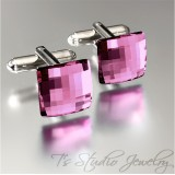 Violet Purple Crystal Square Cufflinks
