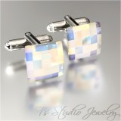 Square Swarovski Crystal AB Chessboard Cufflinks
