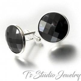Black Swarovski Crystal Large Round Chessboard Cufflinks