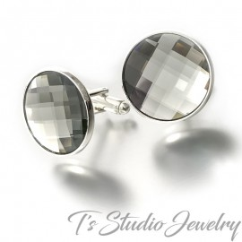 Charcoal Grey Swarovski Crystal Chessboard Cufflinks