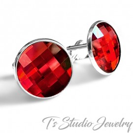 Jewel Tone Red Swarovski Crystal Chessboard Cufflinks