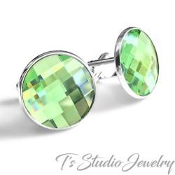 Jewel Tone Peridot Green Crystal Cufflinks