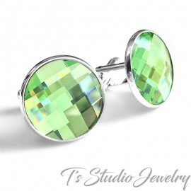 Jewel Tone Peridot Green Crystal Cufflinks