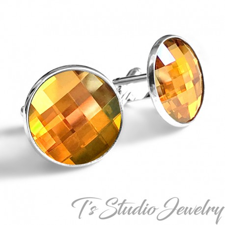 Jewel Tone Swarovski Crystal Large Round Chessboard Cufflinks