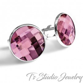 Antique Pink Swarovski Crystal Chessboard Cufflinks