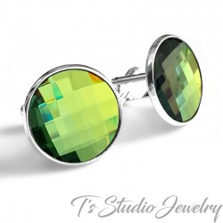 Jewel Tone Olive Sage Green Crystal Cufflinks