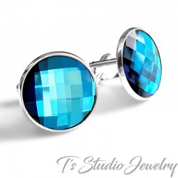 Jewel Tone Blue Swarovski Crystal Cufflinks
