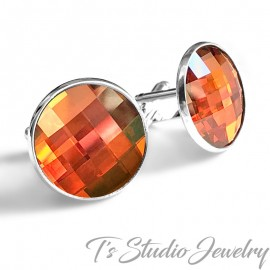 Jewel Tone Tangerine Burnt Orange Crystal Cufflinks
