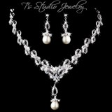 CZ Pave Necklace & Earrings Set