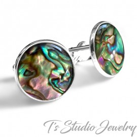 Jewel Tone Rainbow Paua Shell Cufflinks