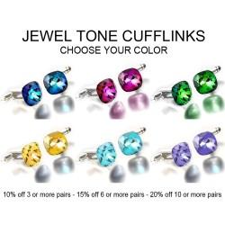 Jewel Tone Cushion Cut Swarovski Crystal Cufflinks