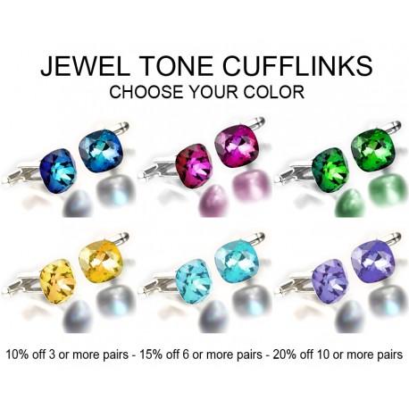 Jewel Tone Cushion Cut Swarovski Crystal Cufflinks Best Man Groomsman Gift