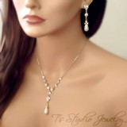 Pearl Back Drop Bridal Necklace & Earrings