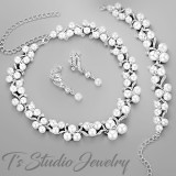 Pearl and CZ Bridal Wedding Necklace Set