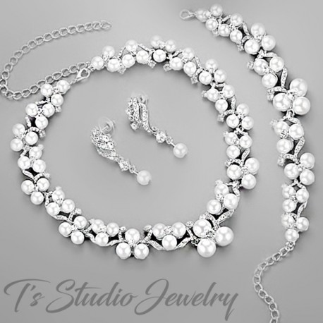 Pearl and CZ Crystal Bridal Earrings