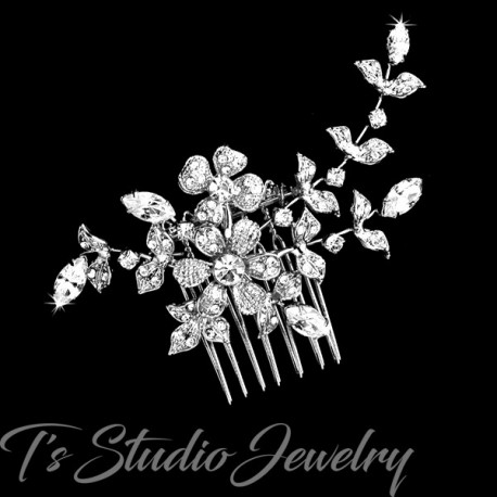 Silver Floral Design Bridal Hair Comb
