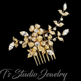 Gold Floral Design Bridal Hair Comb