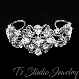 Silver and Crystal Bridal Cuff Bracelet