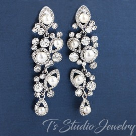 Pave Crystal and Pearl Bridal Earrings