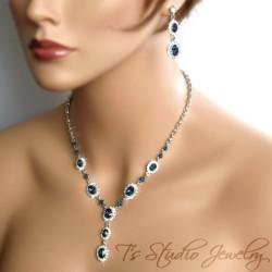 Dark Sapphire Navy Blue Crystal Necklace Set