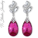 Fuchsia Ruby Pink Raspberry Bridesmaid Earrings