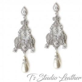 Victorian Pearl Chandelier Bridal Earrings