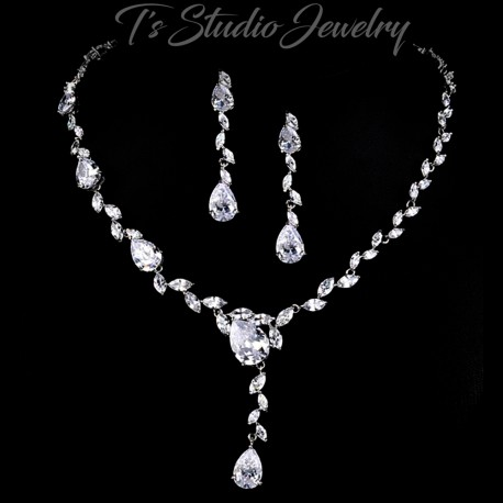 Marquise CZ Bridal Necklace Earrings Set