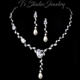 Pearl and Cubic Zirconia Bridal Necklace Earrings Set