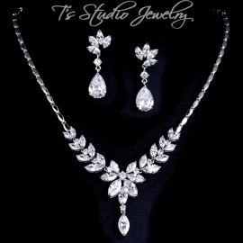 Cubic Zirconia Bridal Necklace Earrings Set