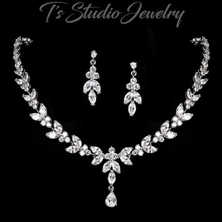 CZ Cubic Zirconia Crystal Bridal Jewelry Set
