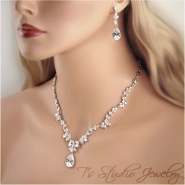 Cubic Zirconia Bridal Necklace and Earrings Set