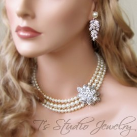 3-Strand Pearl Bridal Necklace with Crystal Focal