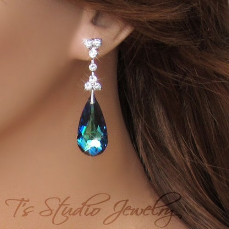 Peacock Blue Crystal Chandelier Earrings