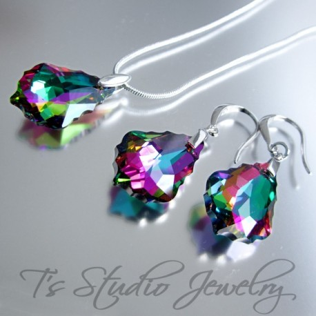 Rainbow Crystal Teardrop Bridesmaid Earrings