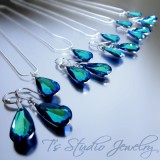 Blue Aqua Crystal Teardrop Bridesmaid Set