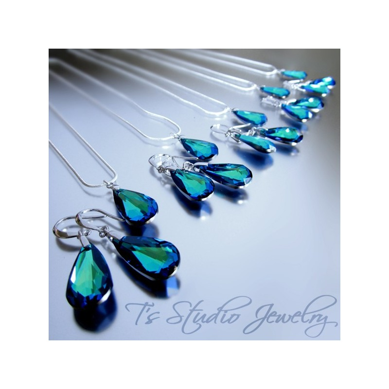 Completely new Color Colored Bridal Bridesmaid Necklace Earrings Set Gift Blue  HM45