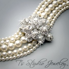 Pearl Cuff Bridal Bracelet 5 Strand with Crystal Flower