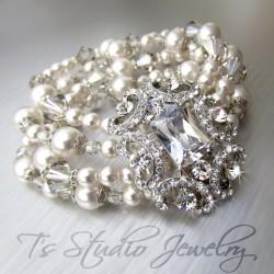 Pearl and Crystal Rhinestone Cuff Bridal Bracelet