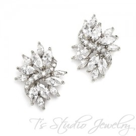 Marquis CZ Cubic Zirconia Crystal Cluster Bridal Stud Earrings